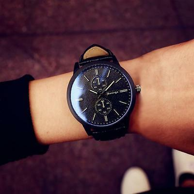Fashion Women's Men's Leather Big Dial Analog Quartz Sport Casual Wrist Watches