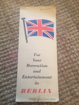 WW2 Allied Control Authority Berlin Map For Recreation C1946/7 Army Welfare Serv