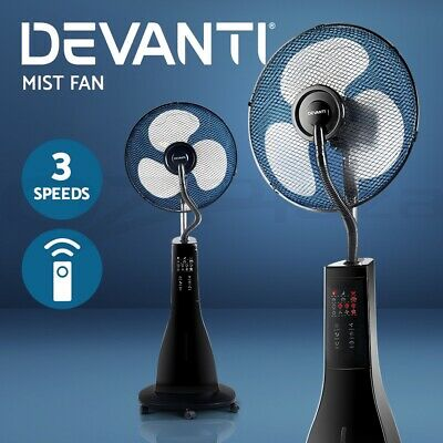 Devanti Portable Misting Fan Pedestal Remote Water Cool Mist Touch Timer 40cm