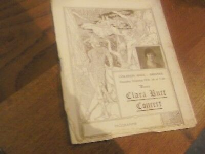 1920S Dame Clara Butt Concert Programme From Colston Hall Bristol