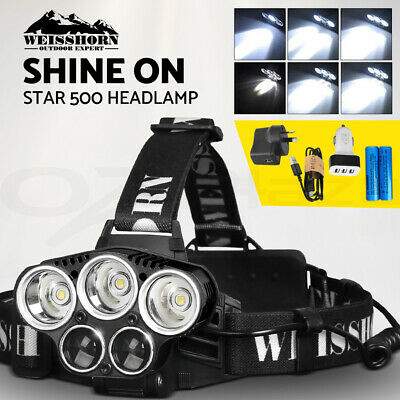 WEISSHORN LED Headlamp Rechargeable Head light Torch Lamp 90000LM XML T6 Camp