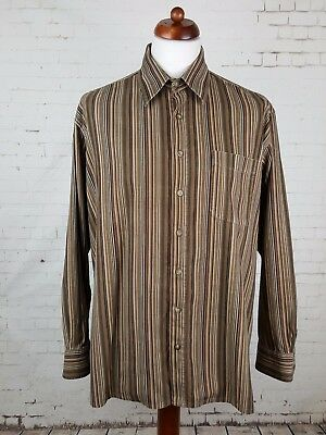 Vtg 90s Brown Striped Corduroy Long Sleeve Cord Shirt Urban Britpop -XL- EL04