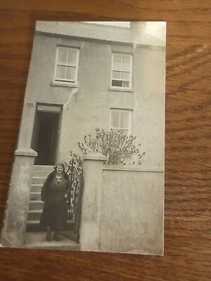 Vintage Real Photo Of A Lady Outside A House In St Austell Area Cornwall