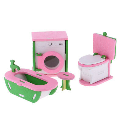 Dolls House Miniature Bathroom Wooden Furniture Set Kids Pretend Play Toys