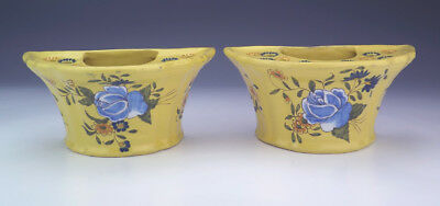 Antique Montpellier French Faience - Pair Of Flower Decorated Bough Pots - Nice!