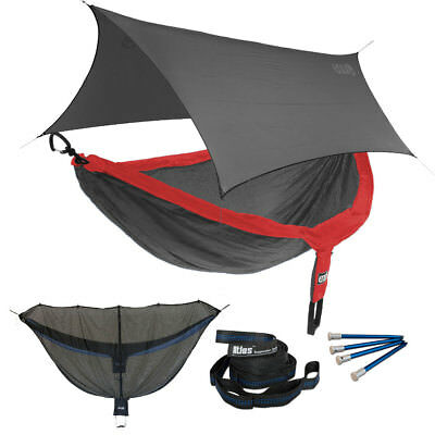 Eagles Nest ENO DoubleNest OneLink Combo - Red/Charcoal Hammock+Grey Profly