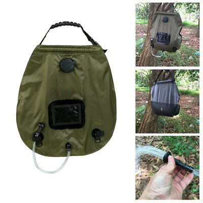 Portable 20L Water Bag Solar Heated Shower Outdoor Camping Hiking Travel RV