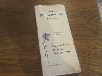1921 Bristol New Philharmonic Society Concert Programme At Colston Hall Bristol