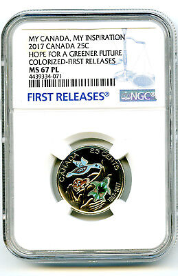 2017 Canada 25 Cent Quarter Ngc Ms67 Pl Hope For A Greener Future Colorized Fr