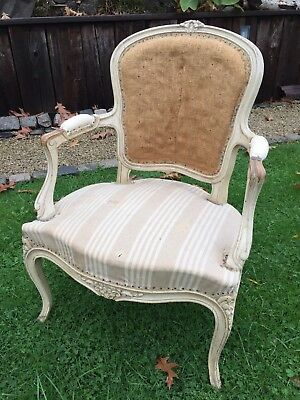 Antique French Louis Carver Chair Deconstructed Vintage Armchair