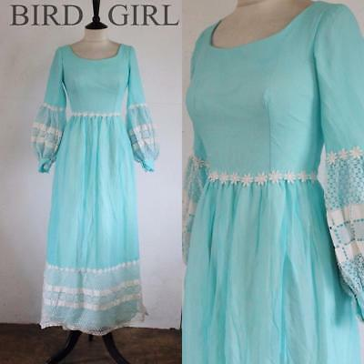 White Crochet Flower Trims 1960S Vintage Turquoise Dollybird Maxi Dress 4 Xxs