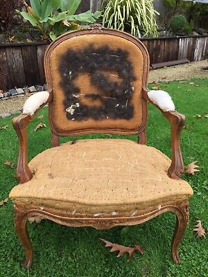 Large Antique French Louis Carver Chair Deconstructed Vintage Armchair
