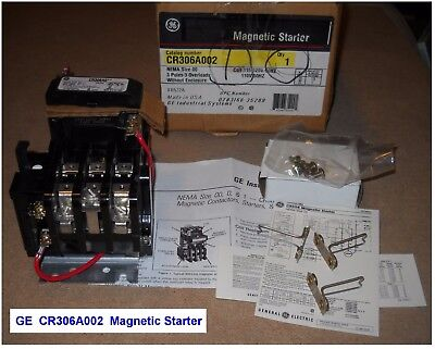 New GE CR306A002 MAGNETIC STARTER - NEMA Size 00 - 3 Poles, 3 Overloads - USA