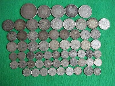 63 switzerland swiss silver coins 1850 - 1967 all different 338 grams freepost