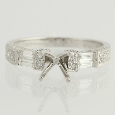 NEW Semi-Mount Engagement Ring - 18k White Gold for 5-6.5mm Stone Genuine .57ctw