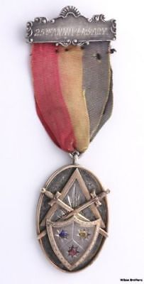 Knights of Pythias Simulated Sapphires Vintage Medal - Sterling Silver 10k Gold