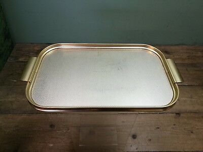 "2 Metal Vintage Drinks Serving Trays (1 Genuine Plyware)16"" x 10"" - 16.5"" x 6.5"""