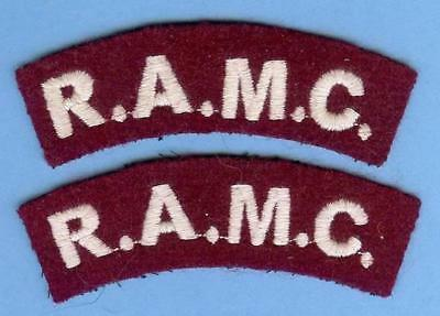 British Army Shoulder Title Patch Pair--R.A.M.C. Medical Corps