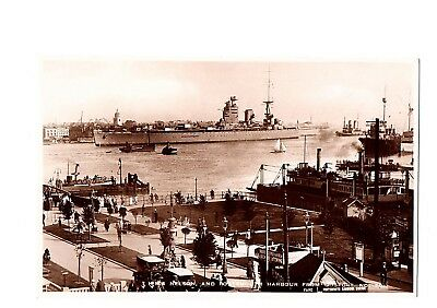 Old Postcard Hms Nelson And Portsmouth Harbour From Gosport Hampshire