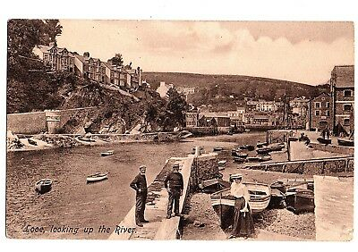 Old Postcard Looe Looking Up The River Cornwall Pm 1912