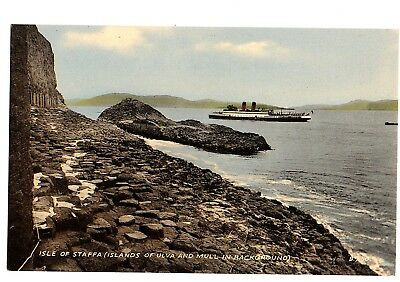 Old Postcard Isle Of Staffa Islands Of Ulva And Mull In Background Scotland