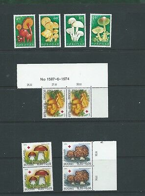 Faroes & Finland (Red Cross) Mushrooms & Fungi set unmounted mint MNH