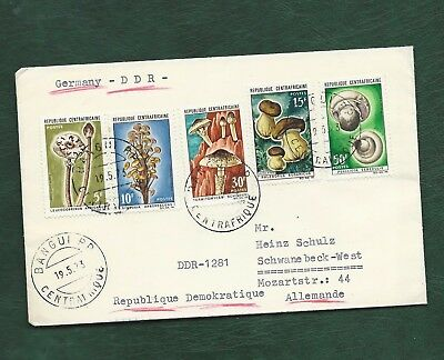 Central African Republic 1973 Mushrooms and Fungi set on FDC to East Germany DDR