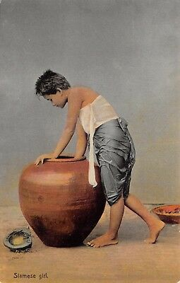Thailand Siam Ethnic Siamese Girl Leaning Over Large Water Pot Printed Card