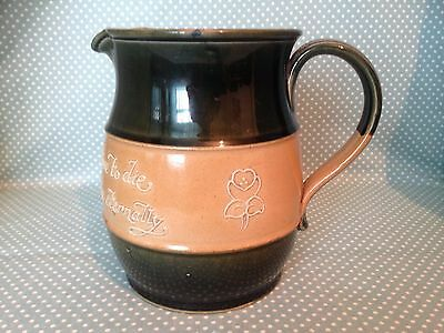 Large antique Royal Doulton Lambeth stoneware motto or proverb jug.