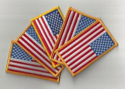 """5 Count Lot U.S. American Flag Patch Iron-on Yellow Border 3 1/2"""" x 2"""" QUALITY"""