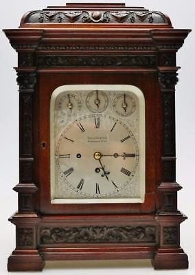 Antique English Carved Mahogany Triple Fusee Musical 8 Bell 5 Gong Bracket Clock