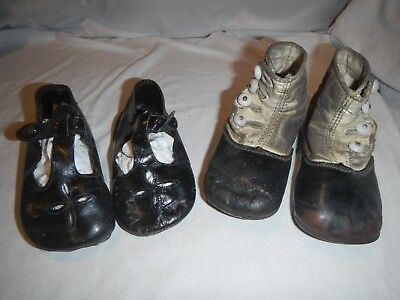 Antique Victorian Baby Shoes Two (2) Pair