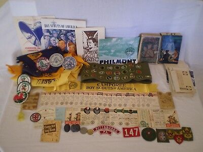VINTAGE 1950's LOT BSA BOY SCOUT HANDBOOKS MERIT BADGES CARD PATCHES EAGLE OA +