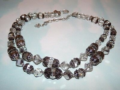 Vtg Vendome Crystal Bead Silver Tone 2 Strand Claw Clasp Necklace Signed