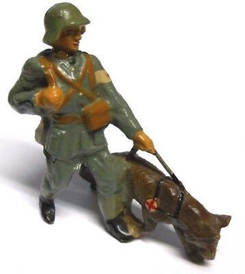 Vintage Elastolin Composition Red Cross German Soldier with Rescue Dog