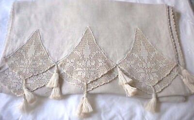 "Extra Long Antique Linen Ecru Table Runner With Tassels 84"" by 16"""