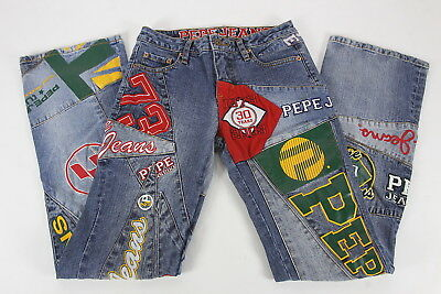 Pepe Jeans 30th Anniversary 1973-2003 Patchwork Womens Jeans 26W 31 Inseam