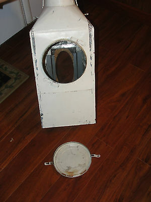 Hoosier metal flour cabinet bin, old, vintage, white, tall, large, window