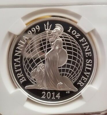 2014 Great Britain Silver Proof 2 £ Pound Britannia NGC PF 70 UCAM First 500