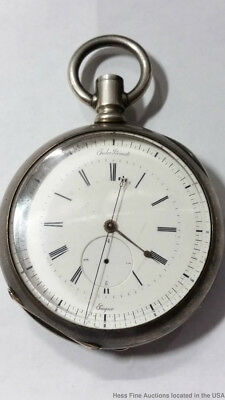 2 Trains Jules Prevost Lagne Jump Second Coin Silver Pocket Watch for Part