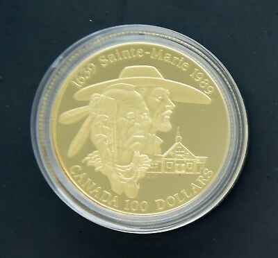 1989 Canada Canadian $100 Gold Proof Sainte-Marie Coin w. Box/COA 1/4 oz. Gold