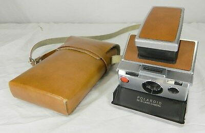 1973 Brown Polaroid Sx-70 Land Camera, S/n J309973280, With Brown Leather Case