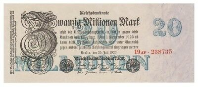 2o Millions Marks German banknote issued in 25.07.1923 19AF aunc