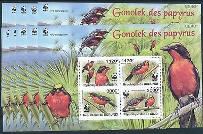 [HG5600] Burundi 2011 WWF Birds good Very Fine MNH sheet x10