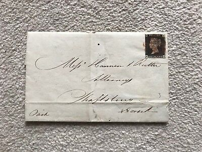 GB Stamp Penny Black On Cover Dated December 3rd 1840 Red Maltese Cross