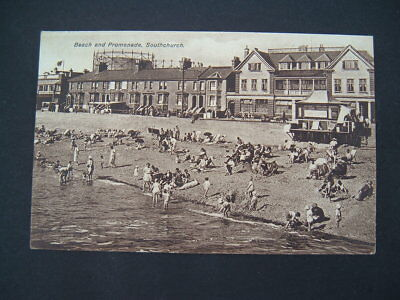 Vintage Postcard - Beach and Promenade Southchurch Essex.  Posted 1928