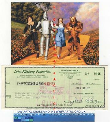 Jack Haley vintage signed Bank Cheque / Check Tin Man Wizard of Oz AFTAL