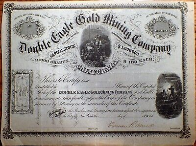 1860's DOUBLE EAGLE GOLD MINING STOCK Certificate $1M 10000 SHARE UNISSUED A3324