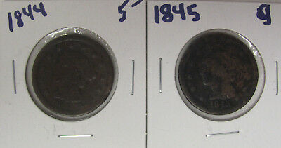 LOT OF 2 - 1844 1845 Braided Hair Large Cent C691