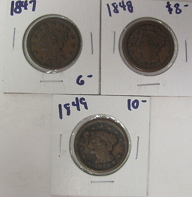 LOT OF 3 - 1847 1848 1849  Braided Hair Large Cent COINS C694